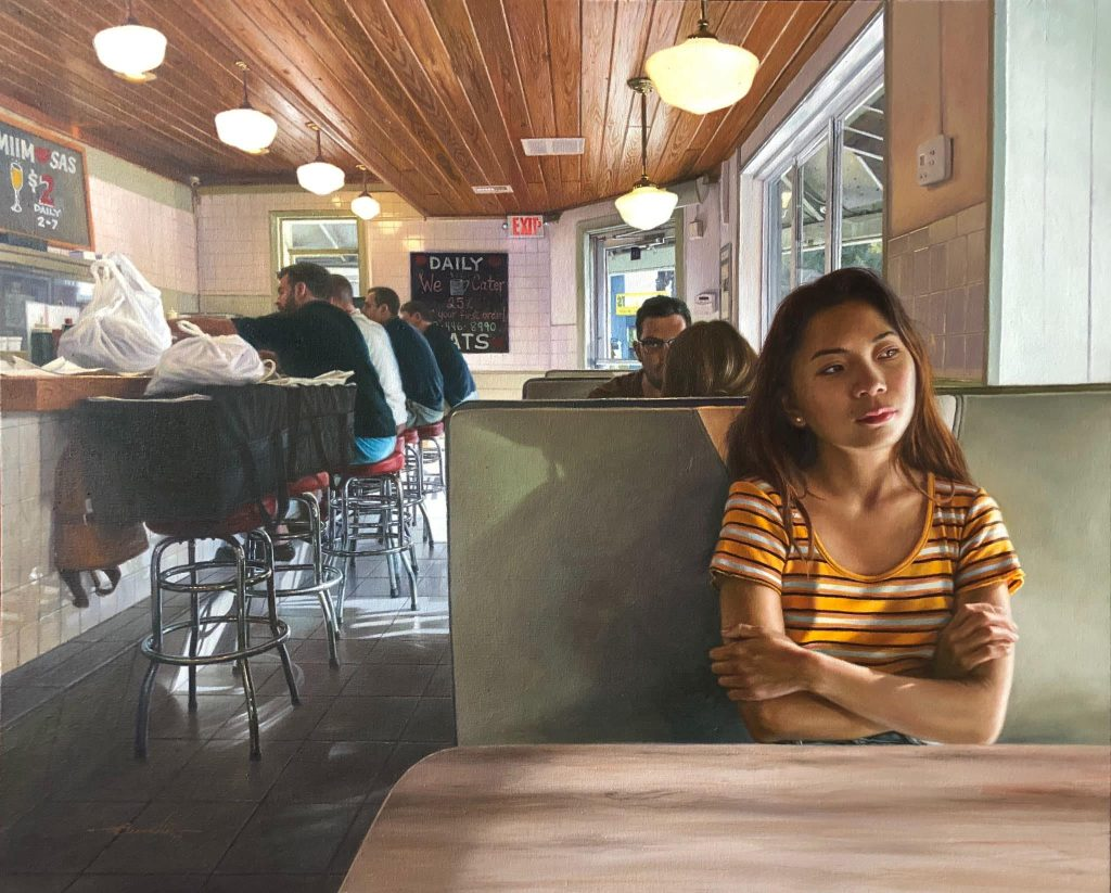 saturday morning by gary carabio in oil